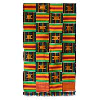 Cotton blend kente cloth scarf, 'Golden Throne' (18 inch width) - Hand Made Cotton Blend 18 Inch Width Kente Cloth