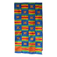 Cotton blend kente cloth scarf, 'Royal Throne' (18 inch width) - Cotton blend kente cloth scarf 18 inch