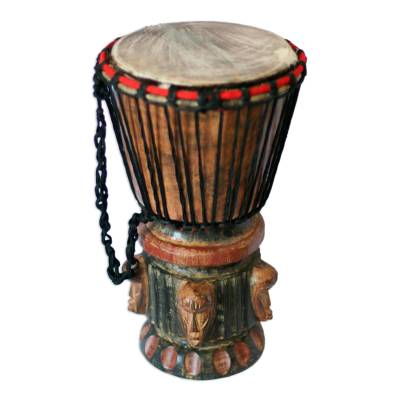 Wood djembe drum, 'Think Together' - Fair Trade Wood Djembe Drum