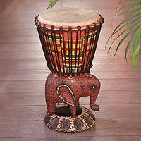 Wood djembe drum, 'African Elephant'