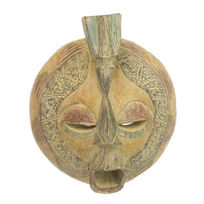 Akan wood mask, 'A True Love' - Handcrafted Wood Mask from West Africa