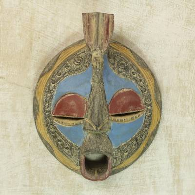 Akan wood mask, 'Faithful Love' - Hand Made Akan Tribe Wood Mask
