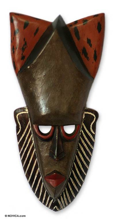 Ivoirian wood mask, 'Peacemaker' - Unique Ivory Coast Wood Mask