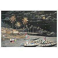 'Sunny Beach' - Mixed Media Landscape Painting