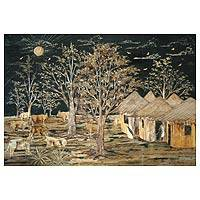 'Ajor Village' - African Landscape Painting