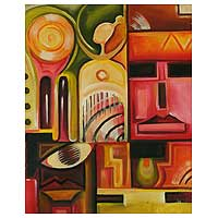 'Mask of the Gods' - Acrylic Cubist Painting