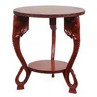 Wood accent table, 'Heroic Elephants' - African Wood Accent Table