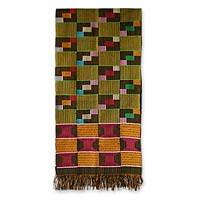 Cotton kente cloth scarf, 'Fishnet' - Cotton Kente Cloth Scarf