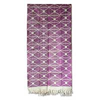 Cotton kente cloth scarf, 'Purple Femme'