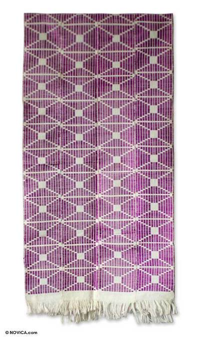 Cotton kente cloth scarf, 'Purple Femme' - Cotton kente cloth scarf