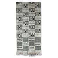 Cotton kente cloth scarf, 'Victory' - Cotton kente cloth scarf