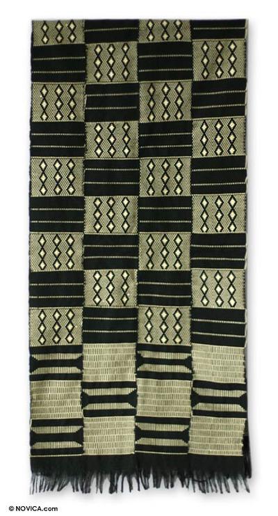 Cotton kente cloth scarf, 'Healing' - Cotton Kente Cloth Scarf