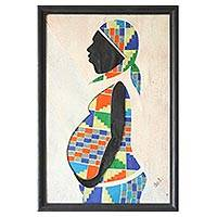 Cotton batik wall art, 'New Generation' - African Folk Art Painting