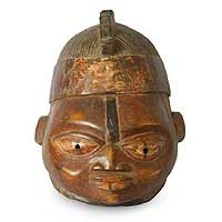 Yoruba wood mask, 'She Brings Good' - Yoruba wood mask