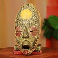 Akan wood mask, 'Only Good Thoughts' - Unique Wood Mask