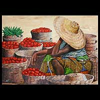 'Fresh Tomatoes' - Realist Market Scene Painting