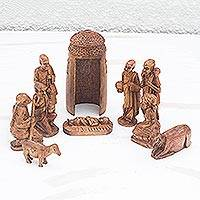 Mahogany nativity scene, 'Divine Birth in Africa' (set of 11) - Mahogany Wood Nativity Scene (Set of 11)