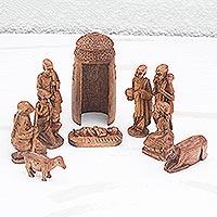 Mahogany nativity scene,