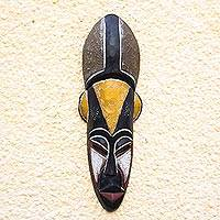 Malian wood mask, 'Elite Appreciation' - Hand Made African Wood Mask