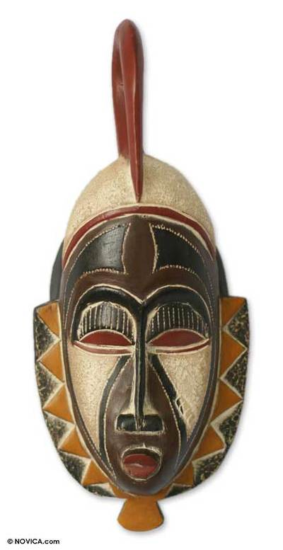 Hausa wood African mask, 'Family Values' - Hausa Wood Mask