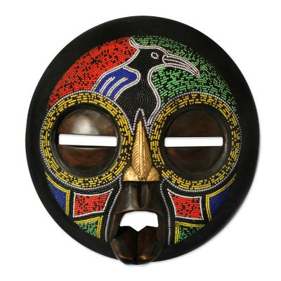 Hausa wood mask, 'Jigida Beauty' - Hand Beaded Hausa Mask