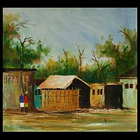 'Ada Village' - Original Landscape Painting of an African Village