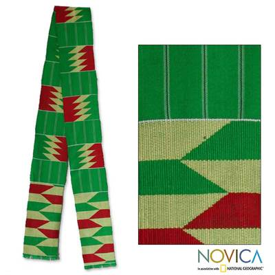 Cotton kente scarf, 'Loom' - Cotton kente scarf