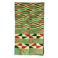Cotton kente cloth, 'Dexterous Weavers' - Cotton kente cloth