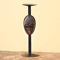 Iron and wood candleholder, 'Akan Mask' - Hand Made African Candleholder