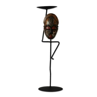 Iron and wood candleholder, 'African Mask' - Iron and wood candleholder