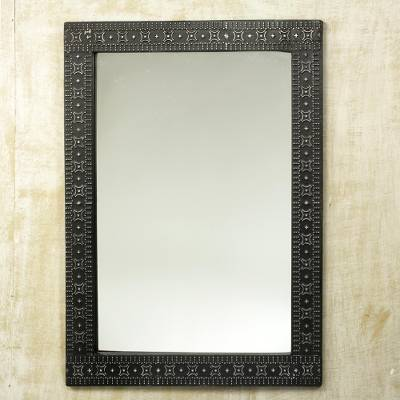 Mirror, 'African Princess' - Contemporary Wood and Aluminum Mirror