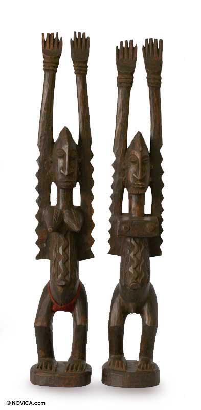 Romantic Wood Sculpture (Pair)