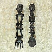 Wood wall adornments, 'Spoon and Fork' (pair) - Hand Made African Wall Accents (Pair)