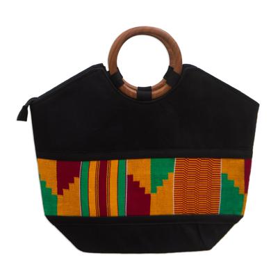 Novica Cotton kente tote bag, Neighborly Love