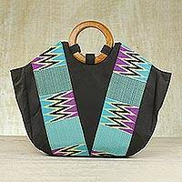 Kente tote handbag, 'Ashanti Ocean' - Kente Cotton Handle Handbag from Africa