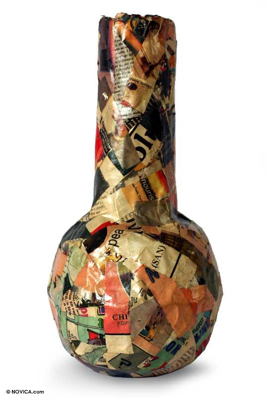 Recycled Newspaper Vase Stories Novica