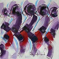 'The Contestants II' - African Folk Art Painting