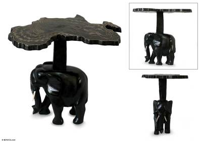 Wood accent table, 'African Elephant' - Wood accent table