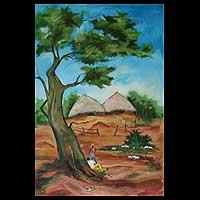'Akosie Village II' - African Landscape Painting