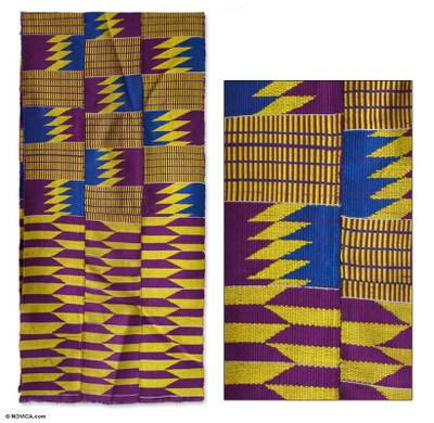 Cotton blend kente cloth scarf, 'God's Child' (16 inch width) - Hand Made Cotton Kente Cloth 16 inch