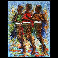 'Drumbeat II' - Expressionist Oil Painting from Africa