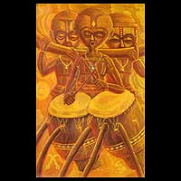 'Akuaba Dolls Playing the Talking Drum' - Expressionist Oil Painting