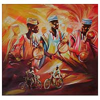 'The Drummers' - Expressionist Painting from Africa