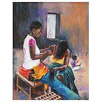 'Plaiting' - Original Portrait Painting from Africa