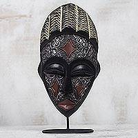 Ghanaian wood mask, 'Communion' - Artisan Crafted Metallic Wood Mask on Stand