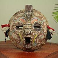 Zaire wood mask, 'Flying Protector' - Hand Beaded Wood Mask