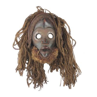 African wood mask, 'Strong Protector' - Handcrafted Jute Mask from Africa