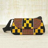 Cotton kente shoulder bag, 'Legacy' - Cotton kente shoulder bag
