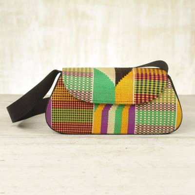 3419e8bf783c Kente Cloth Flap Handbag from Africa - Ghana Muse