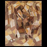 'Who Called? II' - Cubist Painting from Africa